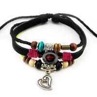 2014 New Handmade Multilayer Braid Woven Strand Bracelet Heart Shaped Leather Bracelets For Unisex Wholesale HOT