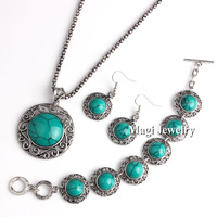 3pcs/set Natural Turquoise Stone Jewelry Sets Women Round Pendant Necklace Bracelet and Earrings Free Shipping Quality Gift BFWS
