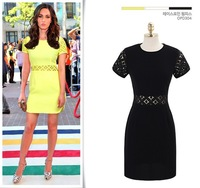 Black,White,Yellow Free Shipping Guaranteed 100% 2014 New Fashion Summer Women's Cotton Sexy Hollow Out Party Dresses Plus Size
