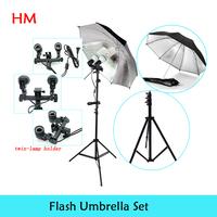 New 2014 photo stuido photography set light studio  Photography twin-lamp holder Black Silver Flash Reflector Studio Umbrella
