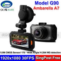 2014 New Car DVR Camera Ambarella A7 Chipset MDVR Registrar 1080P Full HD +170 Degree Wide Lens + Excellent IR Night Vision G90