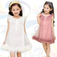 2014 New Summer Kids Korean baby girls chiffon princess solid wholesale Korean cute harness dress 1426