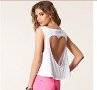 blusas 2014 New Fashion Cotton Cutout Racerback Short Design Navel Back Heart Hollow Women's Sexy Top Short Tank Vest Camis XXL
