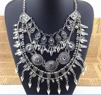 Punk Ethnic Silver Rivets Jingle Bells Round Beads Tassel Statement Shourouk Necklace Chunky Drop Fashion 2014 Women Jewelry