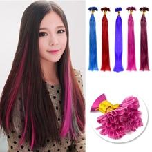"Retail, 100pcs Colorful Straight Nail Tip Brazilian Remy Human Hair Extensions, 18"" Free Shipping(China (Mainland))"