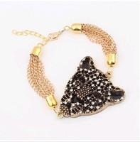2pcs/lot Rhinestone leopard head gold personality Jewelry Bracelet A2105