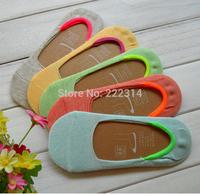 Women invisible socks Natural colored cotton silicone non-slip handmade suture boneless boat socks (10pairs/lot) 9257