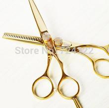 Professional 5 5 titanium Hairdressing Scissors shears kit Barber Hair Cutting Straight Thinning Clipper salon Free