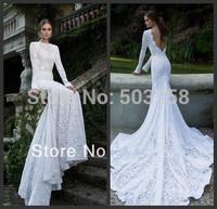 FCD23  2014 Elegant Slim Fit Mermaid White Lace Long Sleeve Chapel Train Backless Wedding Dresses Bridal Wedding Gowns