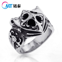 MT brand Thai silver style ring,  316L STAINLESS steel ring with CROSS SHIELD