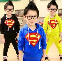 Free shipping 2014 fashion superman baby boys clothing sweater coat kids sportswear hot sale suit KL435