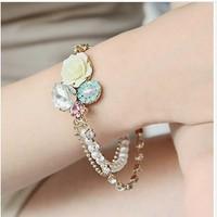 3pcs/lot roses three imitation diamond pearl bracelet A2104