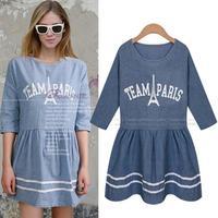 European Cozy Style Letter Printing Mini Denim Dress Half Sleeve Vestidos Summer Casual Cute Girls Dresses 5028