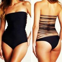 2014 New Fashion Stylish Sexy Women Strapless Tube Fitted Bodycon Backless Bandage Back One Piece Swimsuit Swimwear Monokini