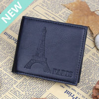new 2014 high quality Genuine Leather Eiffel Tower Business Classic men wallets famous brand credit card black shrot pures