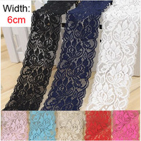 Free shipping multi color  6cm width elastic lace trimming  5m/lot