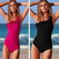 free shipping new 2014 secret style girls one-piece swimsuit swimwear women beach bathing suit shoulder flower black rosy color