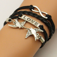 13 PCS /LOT Fashion Vintage Infinity Cross Love Birds Infinity Cross Bracelet leather bracelet