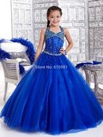 2014 New Organza Beaded Bodice Halter Little Girl's Pageant Dresses Junior  Princess Formal Glitz Flower Girl's Gowns HT044