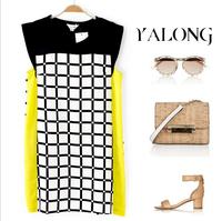 New 2014 women fashion summer dresses black and white plaid lattice print short dress ladies office dress free shipping