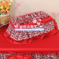 Sunny 2014 new Korean garden wedding red leopard fabric tissue box tissue cover