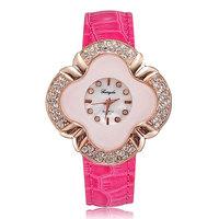 New style fashion quartz women watch diamond luxury rose gold plated pu leather lady dress clock gift free shipping wholesale