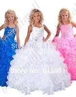 2014 New Arrival Hot White Little Girls Pageant Dresses Long Beaded Ruffles Ball Gown Floor Length Flower Girl Dresses HT045