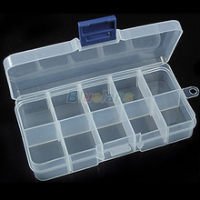 New Storage Case Box 10 Compartment for Nail Art Tips Sundeies Jewelry