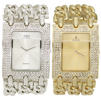 New 2013 Gift Luxury Female Square Hours Gold Steel Diamond Women Quartz Dress Watches G&D Brand Fashion Ladies Dresses Clock