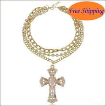 Fine Jewlery 2014 New Arrival Vintage Joker Women Jewel Hollow Out Pink Drill Cross Pendant Necklace Fashion Lady Jewelry N3457