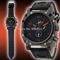 Fashion Gift V6 Smart Men Sport Quartz Wrist Watch Captain Officer Black Leather + free dhl shipping