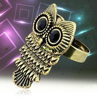 ES0484 Bronze Hot Fashion Cute Adjustable Metal Crystal Owl Finger Ring Adjustable Size