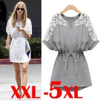 women summer casual cotton dress sexy white lace dresses new 2014 fashion brand plus size women clothing 5xl 4xl xxxl xxl