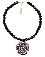Women Black Crystal Beads Flower Pendant Necklace Silver Vintage Charm Chorker