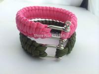 2014 Free shipping paracord bracelet new fashion 550 paracord survival stainless steel bracelet BY escape bracelet