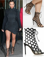 Kim Kardashian Wearing Suede Lace Up Honeycomb Cutout Open Toe Bootie WomenS Sandals