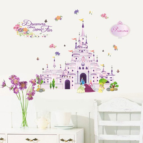 1 Piece Diy Cartoon Castle Wall Sticker Kid Room Removable Wall Poster X1509