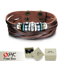 OPK JEWELRY 3 pcs/lot, handmade  Men's multi-Layer Leather weaving Bracelet & Bangle with Charm Bead Trendy Men accessory, 828