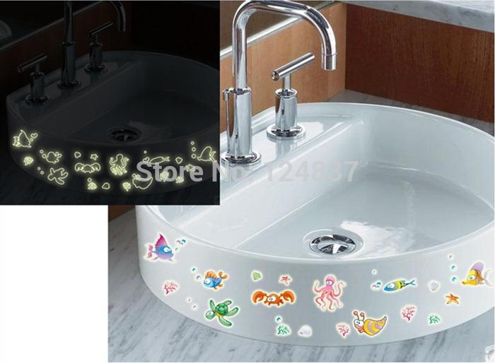 Bubble vis muurstickers diy badkamer decoratie vinyl afneembare decal lichtgevende sticker - Originele toilet decoratie ...