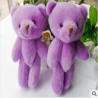 50pcs/lot 12CM Purple Color Jointed MiNi Teddy Bear Stuffed Animal Toy Doll/Cartoon Bouquet Material/Wedding Gift/Phone pendant