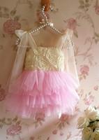 Kids Clothing children new 2014 sleeveless strap dress tutu flowers  5new