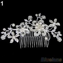 Bridal Wedding Flower Crystal Rhinestones Pearls Women Hair Clip Comb Diamante 012L