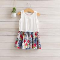 2014 New,girls floral vest dress,children summer cotton dress,bow,4 colors,2-8 yrs,5 pcs / lot,wholesale kids clothing,1213