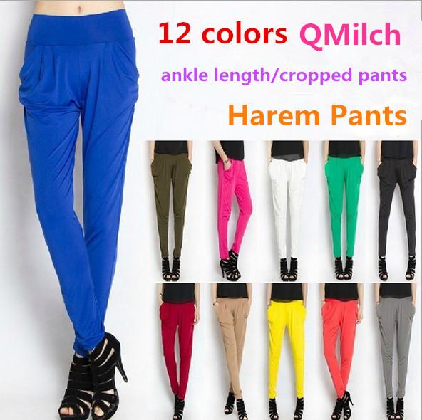 Qmilch 2014 New Vintage Women Elastic Waist Harem Pants,Wide Leg Pants,Loose Femal Bottoming pants,Bing Swing Skinny Pants(China (Mainland))