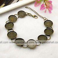 Brass Bracelet Makings,  Bracelet Blanks,  Nickel Free,  Antique Bronze,  210mm,  Tray: 14mm
