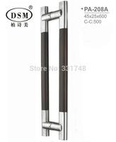 DSM Black Peach Wood+304 Stainless Steel Brushed Wooden Door Pull Handle PA-208-45*25*600mm