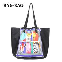 2014 NEW Women GENUINE LEATHER Large Animal Prints Set Shopper Handbag shoulder bag 100% cowhide Fashion girl Wholesale B364