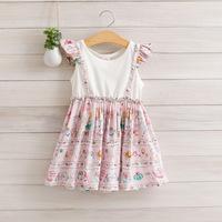 2014 New,girls summer casual dress,floral,100%cotton,4 colors,2-8 yrs,5 pcs / lot,wholesale,1215