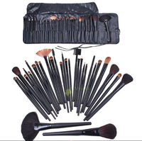 2014 HOT Freeship Pro 32pc Cosmetic Facial Make up Brush Kit Goat Hair  Makeup Brushes Tools Set with Black Leather Case 4USW135