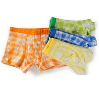 Wholesale Cotton Solid Color Lattice  Boys Panties  Kids Underwear  Briefs Underpants Cartoon Shorts Pants Boxer
